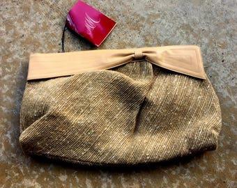 MORRIS MOSKOWITZ Purse, Beige Belgian Linen, Nubby Texture, Leather Trim, Shoulder Bag, Crossbody, Clutch, New Old Stock, Vintage 1980s 90s