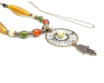 Hippie necklace chic multicolored beads and charms hand of Fatima. Necklace Indian beads. Indian necklace.