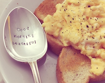 Good Morning Beautiful Handstamped Silver Plated Vintage Spoon