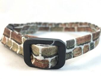 Brick Cat Collar/Paving Stone Cat Collar/Breakaway Cat Collar/Brown cat Collar/Modern Collar/Girl Collar/Trendy Cat Collar/Fancy Cat Collar