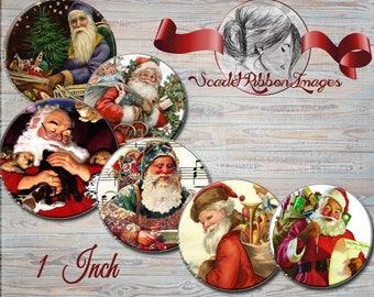 Vintage Santa Claus ~ Victorian Christmas ~ Digital Image ~ Digital Collage ~ Digital Paper ~ Bottle Cap Image~ cupcake toppers-pendants
