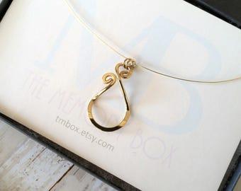 Solid Gold Magic Ring Holder Pendant, Wedding / Engagement Ring Holder Pendant
