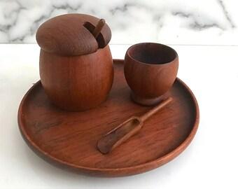 Vintage Mid Century Danish Modern Kay Bojesen Denmark Teak Wood Condiment  Set with Tray
