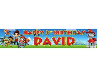 2 x Paw Patrol Personalised Birthday Banner, custom, party,