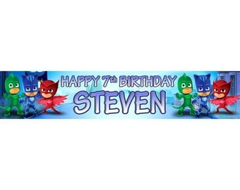 2 x PJ Mask Personalised Birthday Banner, custom, party,