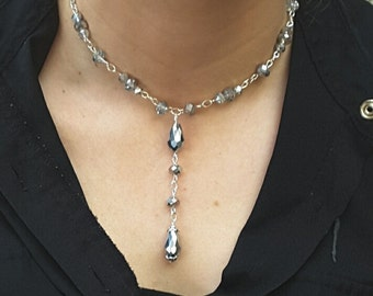 Silver Necklace Choker, Silver Jewelry, Silver Teardrop Necklace, Silver Drop Necklace, Mother of the Bride, Silver Earrings, Statement