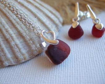 Red Seaham sea glass jewelry set, dark red sea glass earrings, sterling silver sea glass pendant, red sea glass gift, love, romantic, hearts
