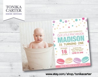 Macaroon Birthday Invitation with picture