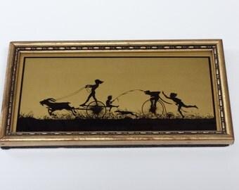 Art, Framed Art, Gold and Black Art, Silhouette, Diefenbach, Diefenbach Silhouette, German Art, Black and Gold Silhouette, Wall Art,