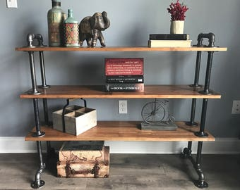 Local Pickup Only | Industrial Shelving Unit | Cast Iron Pipe Bookcase | Industrial Book Shelf