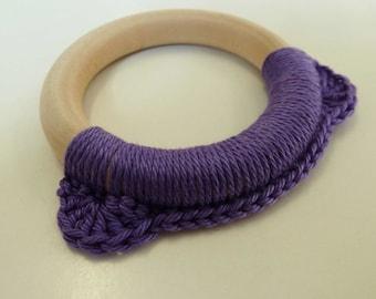 Purple Bear Teething Toy, Purple Teething Ring, Baby Teether, Wooden Teething Toy, Montessori Toy, Purple Crochet Teething Toy