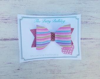 Rainbow striped Bow, Fabric Bow, Glitter Bow, Felt Bow