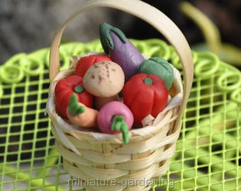 Vegetable Basket for Miniature Garden, Fairy Garden