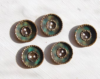 1920's Vintage Collectable Green Celluloid and Brass button set