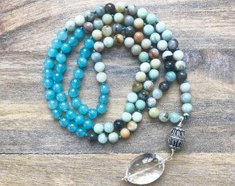 Amazonite Mala Beads / Mala Necklace/ Prayer Beads / Buddhist Meditation/  Mantra Beads