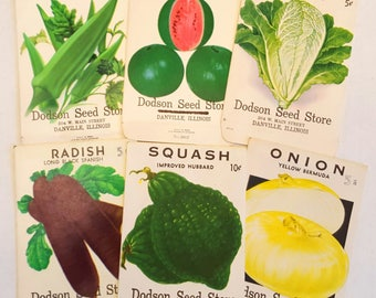 6 Vintage Vegetable seed packs Dodson Seed Store seed packages