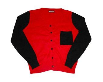 Vintage Color Blocked Red Black Cotton Cardigan