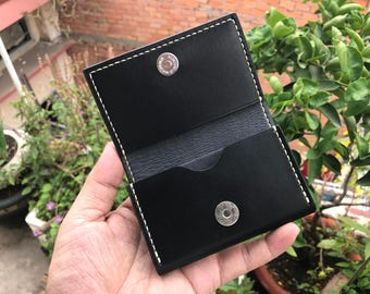 Black Compact Genuine Leather Card Wallet - 100% Handmade - Premium Quality