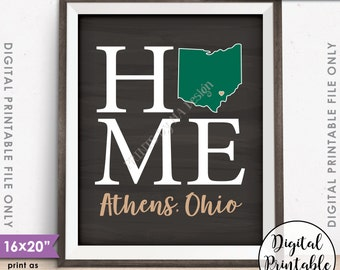 "Athens Ohio Sign, Home Ohio University Home Sign Decor, OU Bobcats, Ohio U Sign, Instant Download 8x10/16x20"" Chalkboard Style Printable"