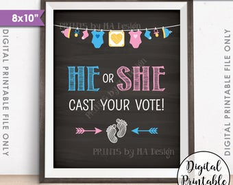 "Gender Reveal Sign, He or She Cast Your Vote Gender Reveal Party Pink or Blue Boy or Girl, Chalkboard Style PRINTABLE 8x10"" Instant Download"