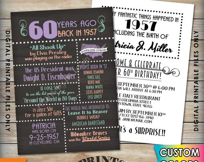 "60th Birthday Invitation 1957 Invite, Born 60 Years Ago in 1957 Birth, Flashback 60 Years Invite, 5x7"" Chalkboard Style Digital Printables"