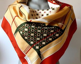 Vintage Silk Scarf, Printed Scarf, PIERRE CHARRIES Silk Scarf,  Geometric Design, Square Scarf