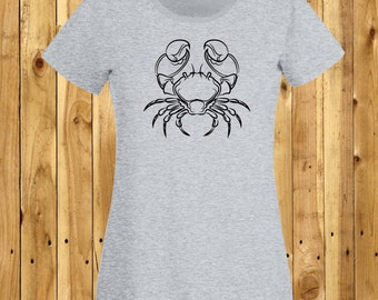 Cancer Crab T-Shirt, Star Sign Tshirt, Zodiac Lover Gift, June Birthday Tee, July Birthday Shirt, Astrology Sign Tee, Astrological Crab
