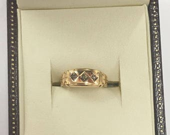15ct 1960's Yellow Gold Old Cut Diamond ring