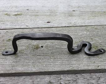 Hand Forged Handle / barn door pull / doorknob / wrought iron cabinet hardware / black iron pull
