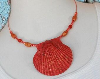 Beach Jewelry – Sea Shell Necklace – Scallop Shell – Beach Necklace – Seashell Jewelry – Seashell – Seashell Necklace – Shell Jewelry -Coral