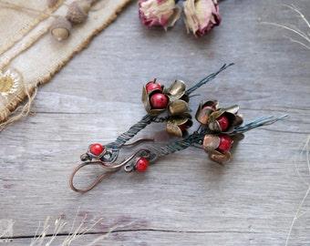 Earrings copper wirewrap, bouquet of flowers, red flowers, boho, spring Earrings, summer jewelry, lovely earrings flowers red stone,  bunch