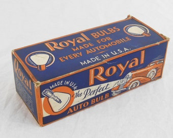Auto Light Bulbs By Royal Full Box Of 10, 6 to 8 Volt, Vintage