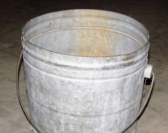 Rustic Planter Old Galvanized Steel Mop Bucket  Rustic Decor Inside or Out, Great for Decks and Yards Flower Bed Decor