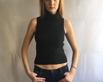 90s Vintage Black Sleeveless Turtleneck Top