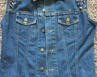 Spike Studded Denim Vest S/M