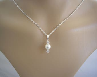 Dainty Pendant Necklace made with Swarovski 8mm Pearl and 4mm Crystals on a fine silver plated chain