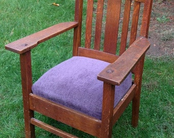 Solid Oak Mission/Stickley Style Chair