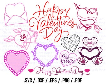 Valentine Day SVG Clipart, SVG Office Wall Art, DXF Holiday File, Vinyl Cutters, Screen Printing, Silhouette, Vinyl Cutting Clipart - CA407