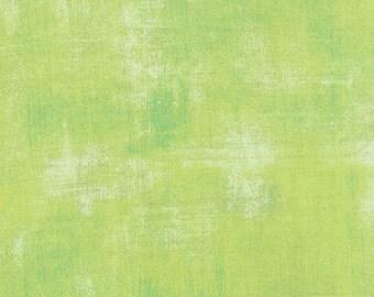 Moda Fabrics - Grunge Key Lime #30150-303 by BasicGrey/ Medium Apple Green with Darker Green and White Hash Marks