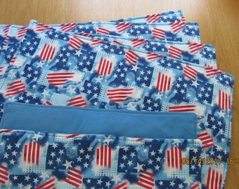 Handmade Padded PATRIOTIC  Stars & Flags Placemats  - Set of 6