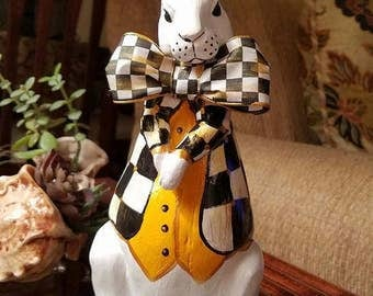 White Rabbit, Alice In Wonderland White Rabbit, Easter Rabbit,Hand Painted Rabbit,Whimsical Black and White Check Jacket Rabbit,Spring Bunny