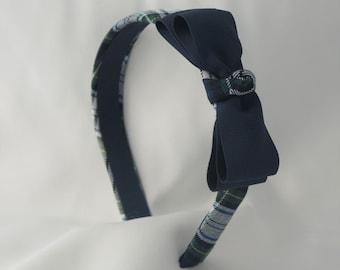 School Uniform Plaid Headband with Bow - White Plaid