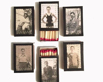 Decorative Matches Set of 6 matches Mini Matchboxes Vintage Photo Matches Father's Day Gift Groomsmen Gift