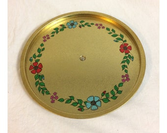Vintage Round Painted Lazy Susan Gold Tin Serving Tray