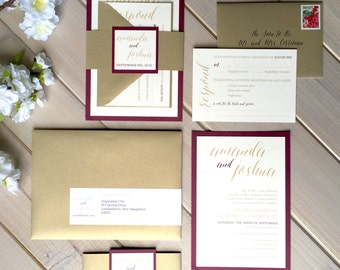 Burgundy, Gold Shimmer And Ivory Wedding Invitations, Burgundy And Champagne  Wedding Invitations, Gold