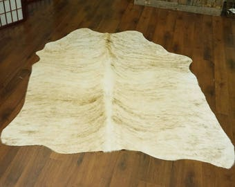 Stripped Yellow & Brown Brindle Rodeo Cowhide Rug 5'3 x 4'10 ft  -  1888
