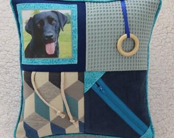 Fidget Cushion ~ Sensory Activity Pillow ~ Dementia Twiddle Cushion ~ Alzheimer Gift ~ Busy Cushion ~ 'Black Labrador on Blue'