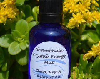Sleep, Rest & Relaxation Crystal Energy Mist with Gem Essence and Essential Oils for meditation, clearing and purifying
