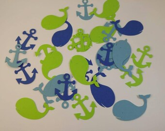 Nautical Confetti, Nautical Party, Nautical die cuts, Nautical cut outs, Whale cut outs, Anchor cut outs, Anchor confetti, Whale confetti