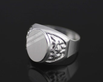 Men's 925 Sterling Silver Engrave Ring, Silver Oval Men Ring, Oval Men Ring with Diamond Cut, Silver Modern Men Ring, Silver Men's Ring